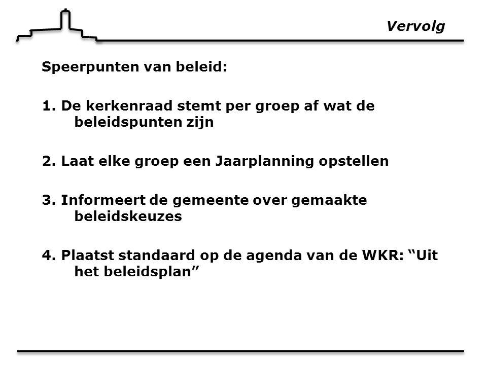 Vervolg Speerpunten van beleid: 1. De kerkenraad stemt per groep af wat de beleidspunten zijn 2.