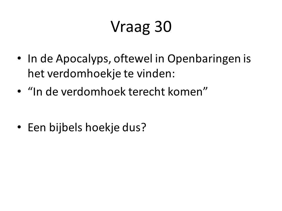 Vraag 30 In de Apocalyps, oftewel in Openbaringen is het verdomhoekje te vinden: In de verdomhoek terecht komen Een bijbels hoekje dus?