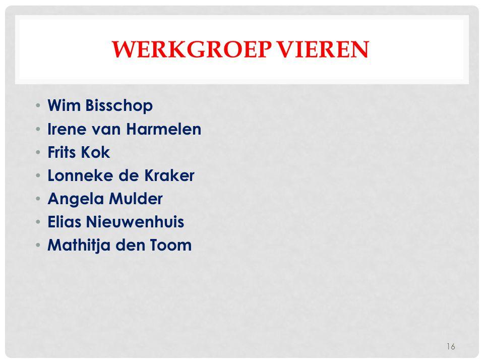 WERKGROEP VIEREN Wim Bisschop Irene van Harmelen Frits Kok Lonneke de Kraker Angela Mulder Elias Nieuwenhuis Mathitja den Toom 16