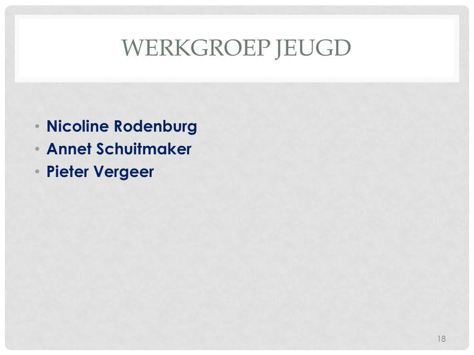 WERKGROEP JEUGD Nicoline Rodenburg Annet Schuitmaker Pieter Vergeer 18