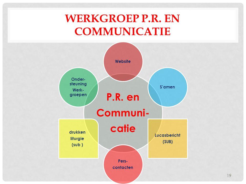 WERKGROEP P.R. EN COMMUNICATIE P.R. en Communi- catie WebsiteS'amen Lucasbericht (SUB) Pers- contacten drukken liturgie (sub ) Onder- steuning Werk- g