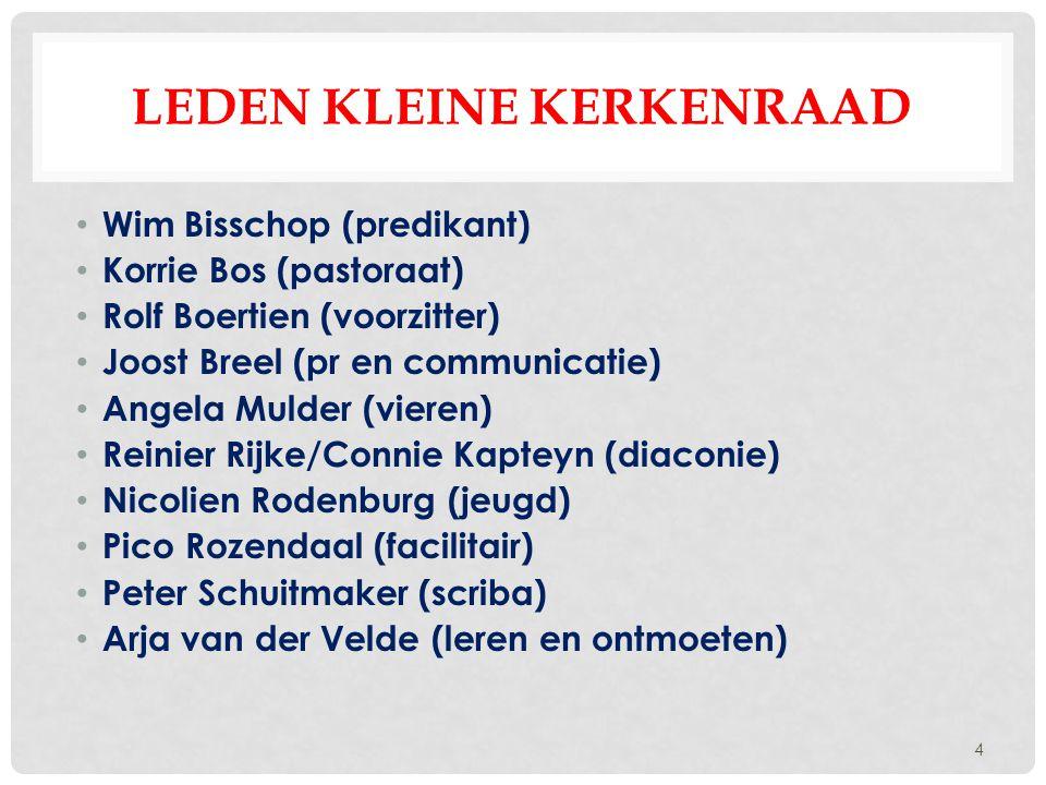 LEDEN KLEINE KERKENRAAD Wim Bisschop (predikant) Korrie Bos (pastoraat) Rolf Boertien (voorzitter) Joost Breel (pr en communicatie) Angela Mulder (vie
