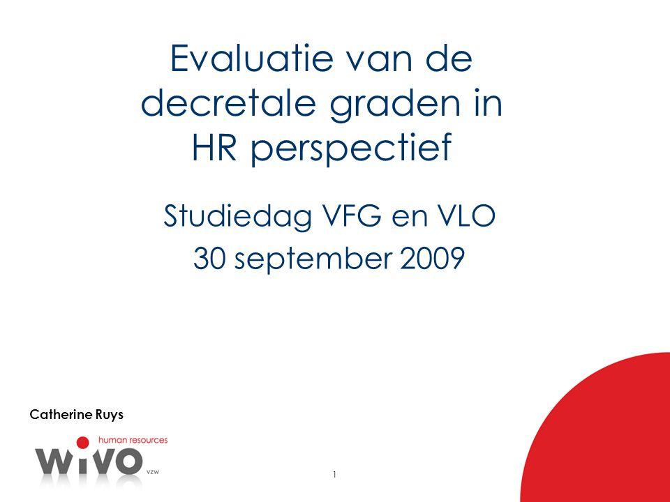 1 Evaluatie van de decretale graden in HR perspectief Studiedag VFG en VLO 30 september 2009 Catherine Ruys