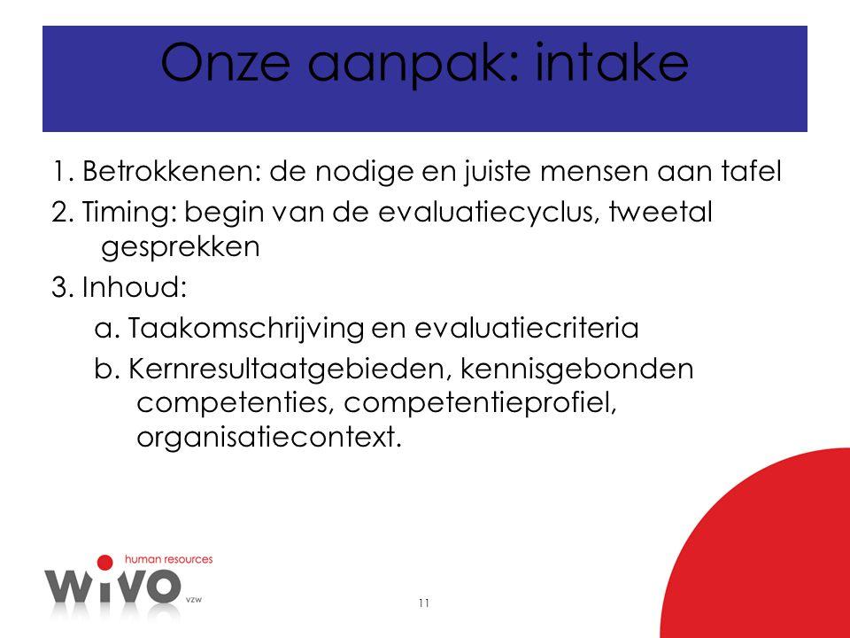 11 Onze aanpak: intake 1. Betrokkenen: de nodige en juiste mensen aan tafel 2. Timing: begin van de evaluatiecyclus, tweetal gesprekken 3. Inhoud: a.