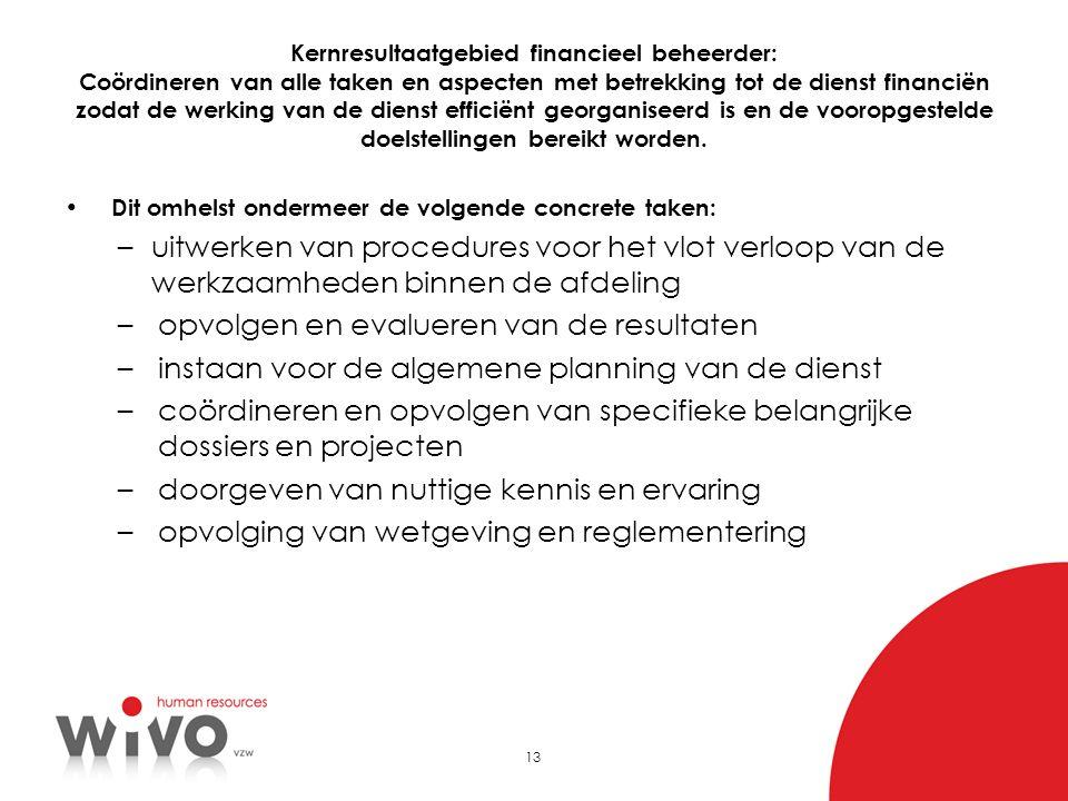 13 Kernresultaatgebied financieel beheerder: Coördineren van alle taken en aspecten met betrekking tot de dienst financiën zodat de werking van de die