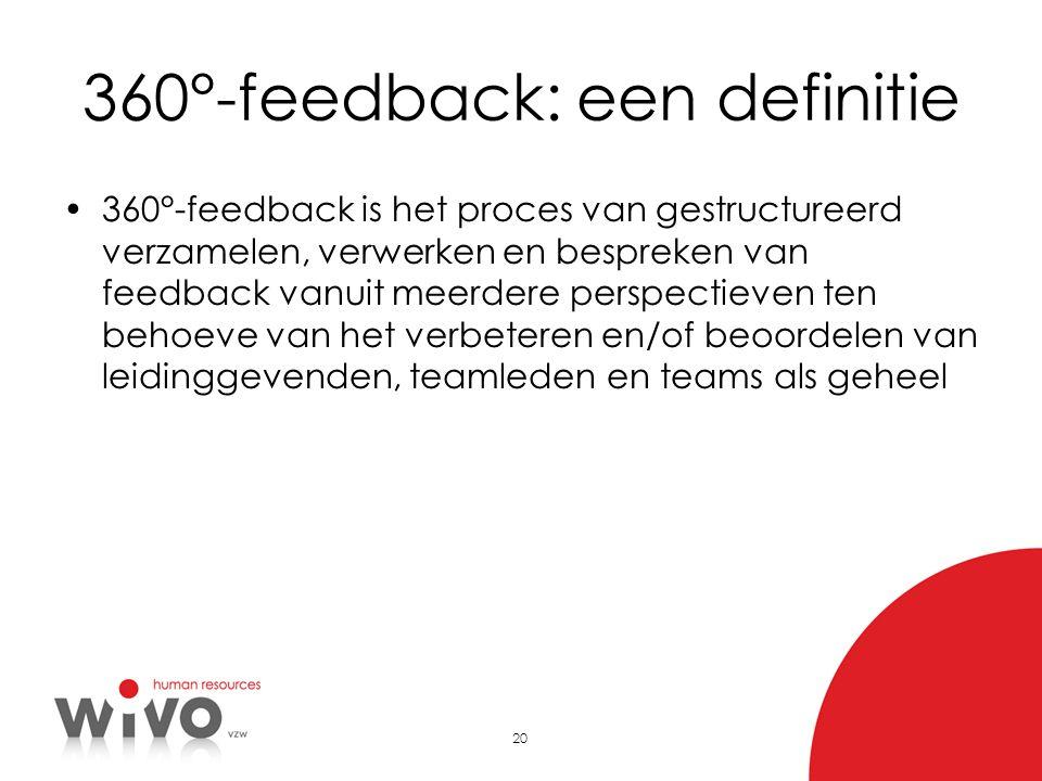 20 360°-feedback: een definitie 360°-feedback is het proces van gestructureerd verzamelen, verwerken en bespreken van feedback vanuit meerdere perspec