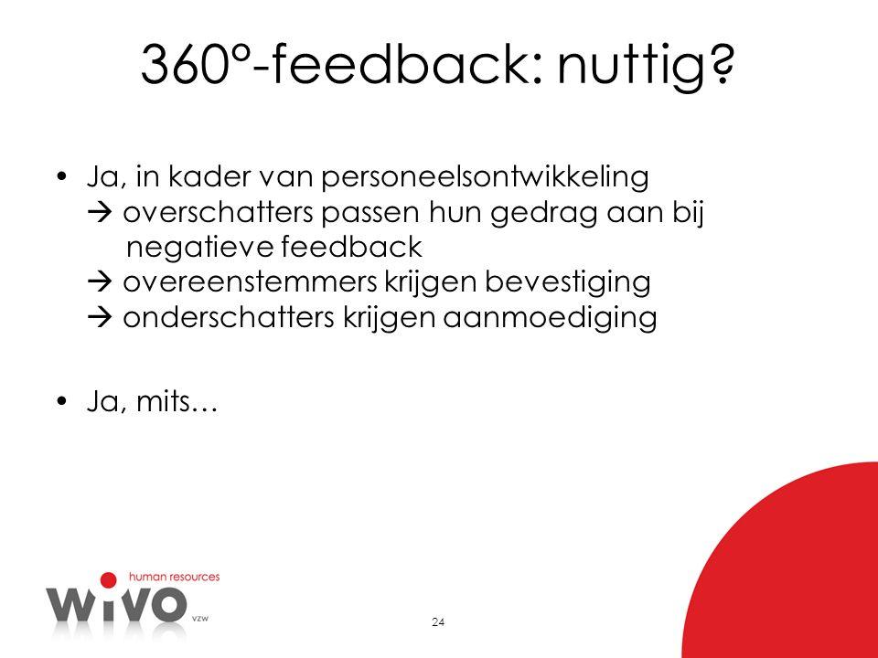 25 Randvoorwaarden voor 360°feedback Passend in organisatiecultuur Inbedding in totale visie op begeleiden en beoordelen Competentiegericht - op basis van waarneembaar, observeerbaar gedrag Bepalen van feedbackgevers: inbreng functiehouder Informeren, opleiden over het gebruik van 360° feedback Anonimiteit kan in het kader van ontwikkeling, af te raden in het kader van 360° evaluatie Verwerken feedback en bespreken feedbackverslag