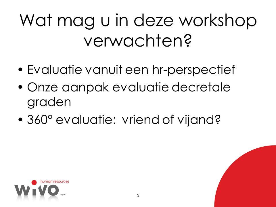 3 Wat mag u in deze workshop verwachten? Evaluatie vanuit een hr-perspectief Onze aanpak evaluatie decretale graden 360° evaluatie: vriend of vijand?