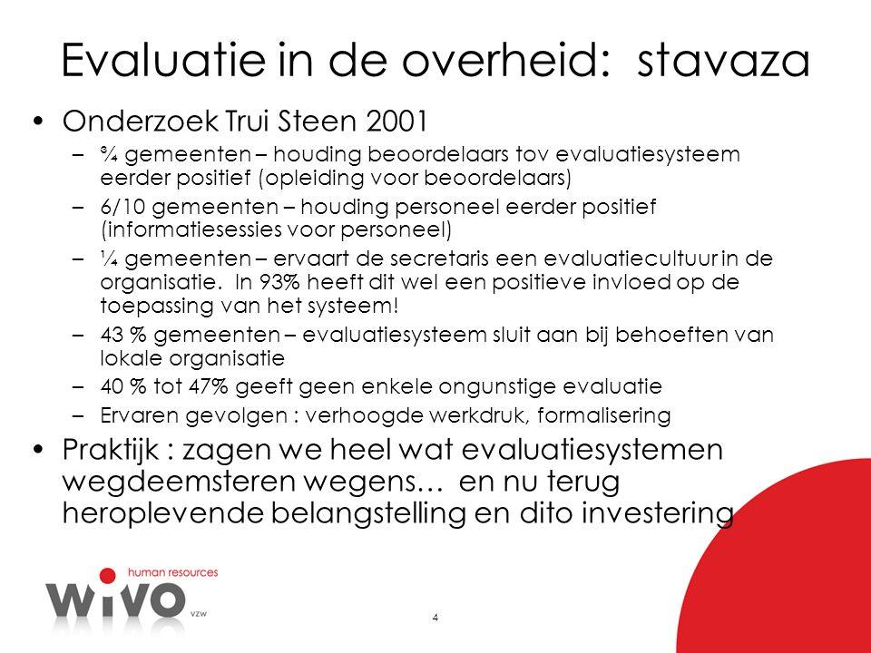 4 Evaluatie in de overheid: stavaza Onderzoek Trui Steen 2001 –¾ gemeenten – houding beoordelaars tov evaluatiesysteem eerder positief (opleiding voor