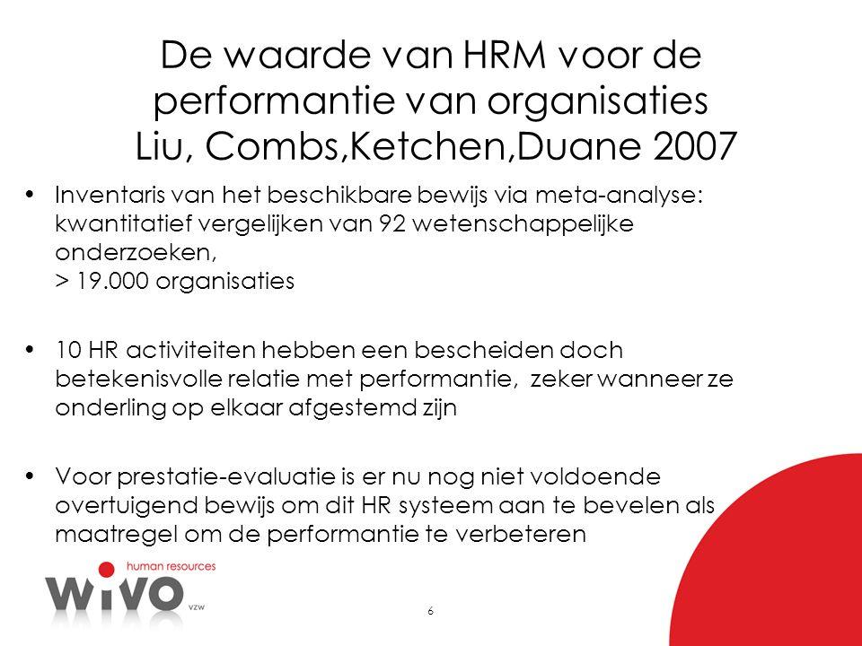 6 De waarde van HRM voor de performantie van organisaties Liu, Combs,Ketchen,Duane 2007 Inventaris van het beschikbare bewijs via meta-analyse: kwanti