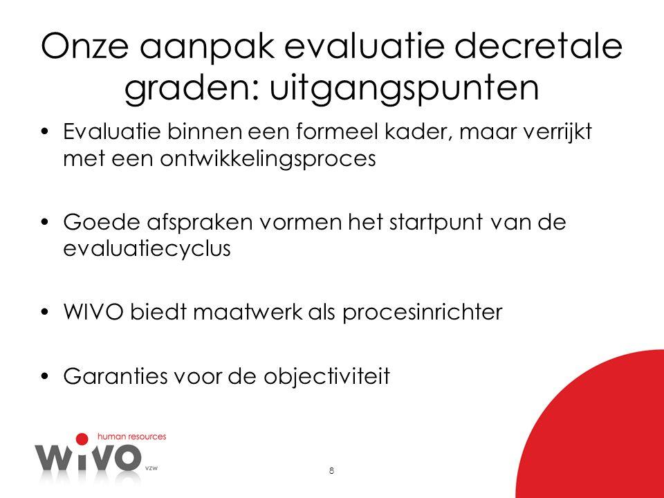8 Onze aanpak evaluatie decretale graden: uitgangspunten Evaluatie binnen een formeel kader, maar verrijkt met een ontwikkelingsproces Goede afspraken