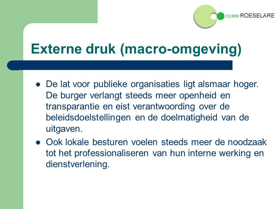 Externe druk (macro-omgeving) De lat voor publieke organisaties ligt alsmaar hoger.