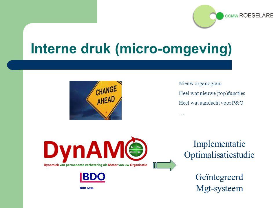 Interne druk (micro-omgeving) Implementatie Optimalisatiestudie Geïntegreerd Mgt-systeem Nieuw organogram Heel wat nieuwe (top)functies Heel wat aandacht voor P&O …