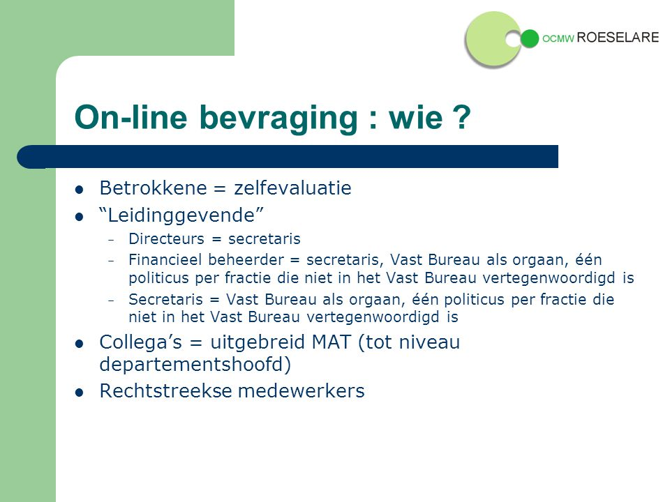 On-line bevraging : wie .
