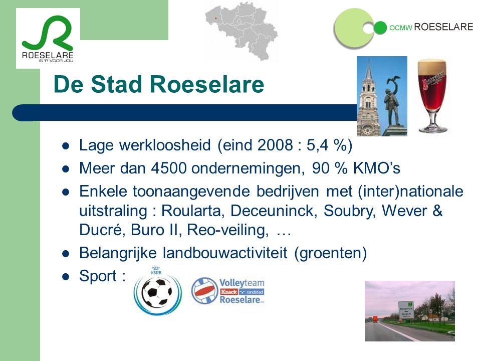 De Stad Roeselare Lage werkloosheid (eind 2008 : 5,4 %) Meer dan 4500 ondernemingen, 90 % KMO's Enkele toonaangevende bedrijven met (inter)nationale uitstraling : Roularta, Deceuninck, Soubry, Wever & Ducré, Buro II, Reo-veiling, … Belangrijke landbouwactiviteit (groenten) Sport :