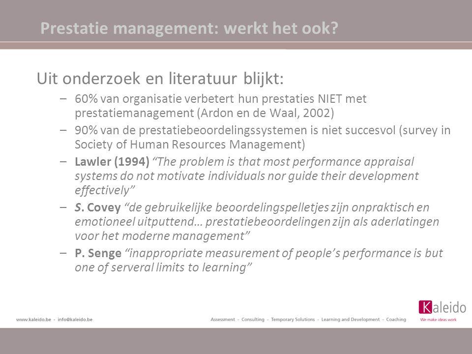 Prestatie management: werkt het ook? Uit onderzoek en literatuur blijkt: –60% van organisatie verbetert hun prestaties NIET met prestatiemanagement (A