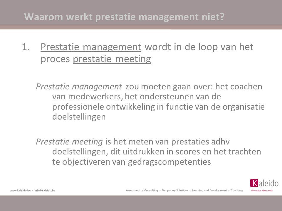 Waarom werkt prestatie management niet? 1.Prestatie management wordt in de loop van het proces prestatie meeting Prestatie management zou moeten gaan