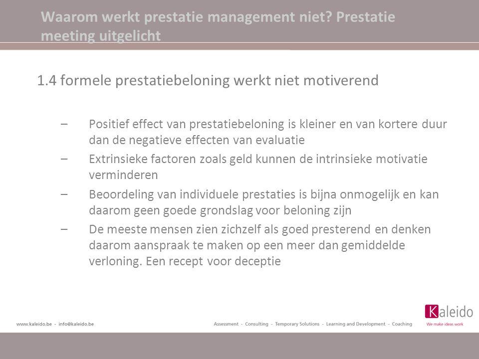 Waarom werkt prestatie management niet? Prestatie meeting uitgelicht 1.4 formele prestatiebeloning werkt niet motiverend –Positief effect van prestati