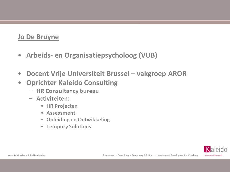 Arbeids- en Organisatiepsycholoog (VUB) Docent Vrije Universiteit Brussel – vakgroep AROR Oprichter Kaleido Consulting –HR Consultancy bureau –Activiteiten: HR Projecten Assessment Opleiding en Ontwikkeling Tempory Solutions
