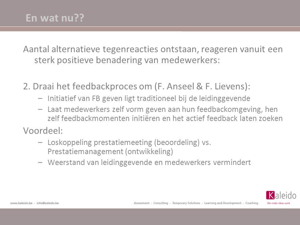 En wat nu?? Aantal alternatieve tegenreacties ontstaan, reageren vanuit een sterk positieve benadering van medewerkers: 2. Draai het feedbackproces om