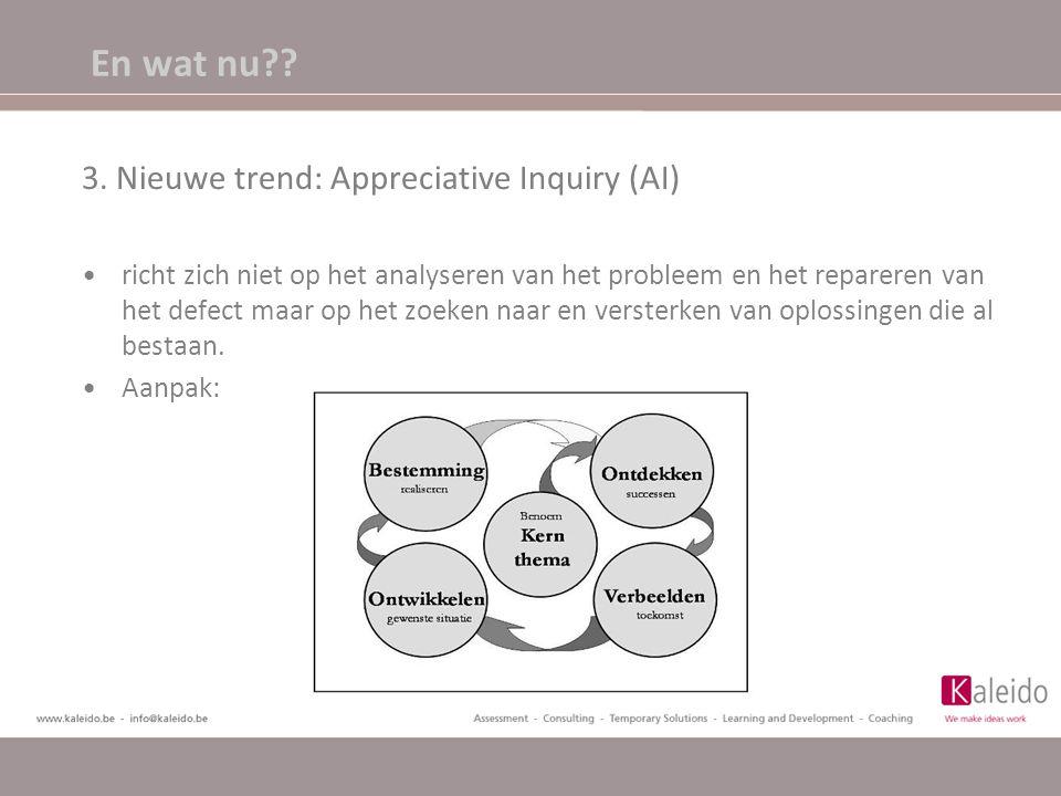 En wat nu?? 3. Nieuwe trend: Appreciative Inquiry (AI) richt zich niet op het analyseren van het probleem en het repareren van het defect maar op het