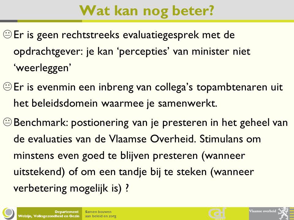 Samen bouwen aan beleid en zorg Departement Welzijn, Volksgezondheid en Gezin Wat kan nog beter?  Er is geen rechtstreeks evaluatiegesprek met de opd