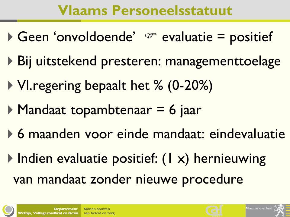 Samen bouwen aan beleid en zorg Departement Welzijn, Volksgezondheid en Gezin Vlaams Personeelsstatuut  Geen 'onvoldoende'  evaluatie = positief  B