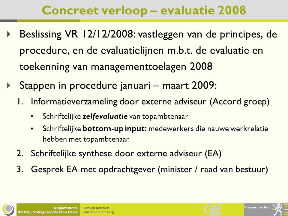 Samen bouwen aan beleid en zorg Departement Welzijn, Volksgezondheid en Gezin Concreet verloop – evaluatie 2008 4.Gesprek EA met topambtenaar 5.Opmaak ontwerp evaluatieverslag door EA 6.