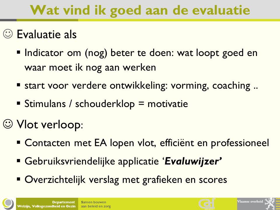 Samen bouwen aan beleid en zorg Departement Welzijn, Volksgezondheid en Gezin Wat vind ik goed aan de evaluatie Evaluatie als IIndicator om (nog) be