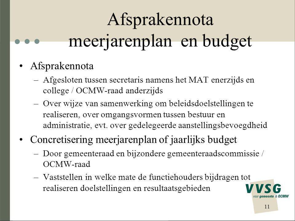 Afsprakennota meerjarenplan en budget Afsprakennota –Afgesloten tussen secretaris namens het MAT enerzijds en college / OCMW-raad anderzijds –Over wijze van samenwerking om beleidsdoelstellingen te realiseren, over omgangsvormen tussen bestuur en administratie, evt.