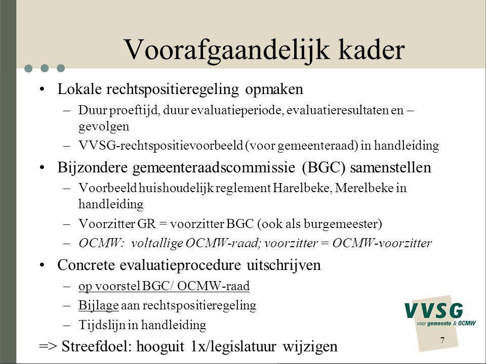 Voorbereiding concrete evaluatieprocedure (1) Overheidsopdracht om externe deskundige aan te stellen –Raad (evt.