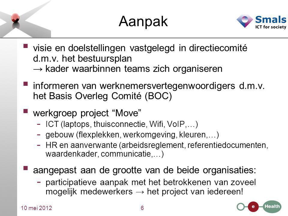 10 mei 20126 Aanpak  visie en doelstellingen vastgelegd in directiecomité d.m.v. het bestuursplan → kader waarbinnen teams zich organiseren  informe