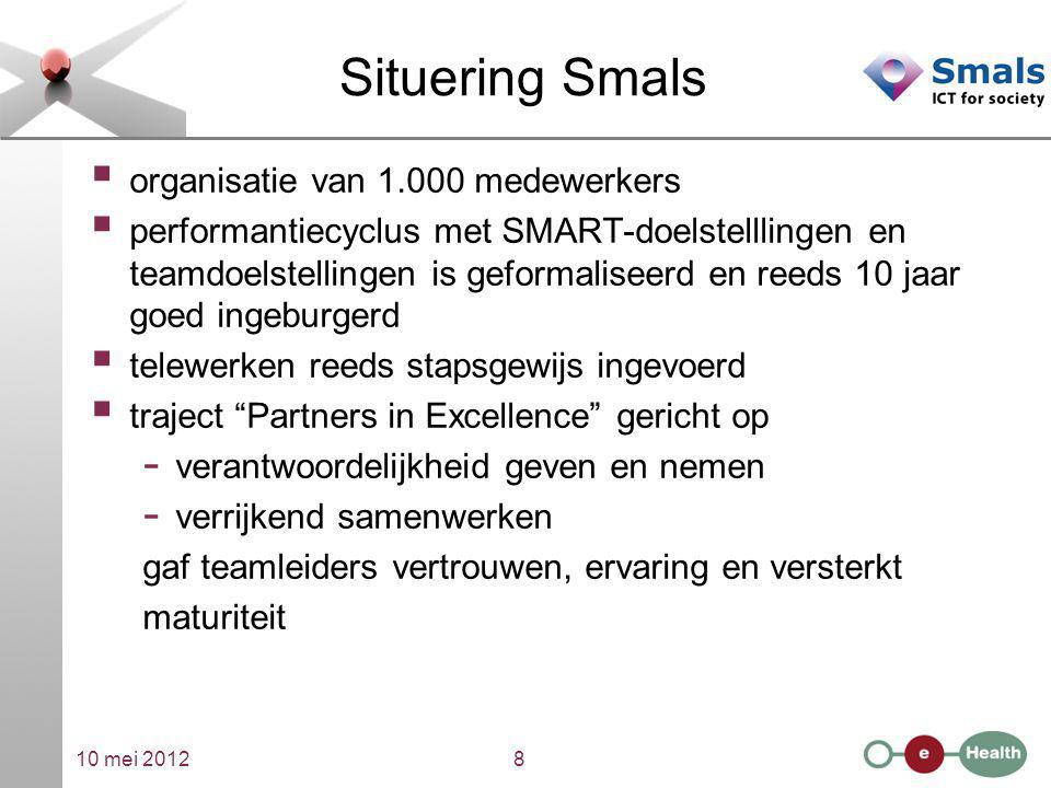 10 mei 20128 Situering Smals  organisatie van 1.000 medewerkers  performantiecyclus met SMART-doelstelllingen en teamdoelstellingen is geformaliseer