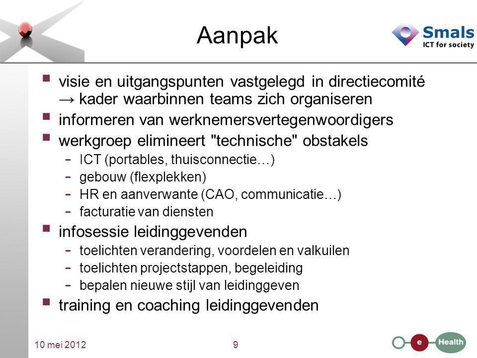 10 mei 20129 Aanpak  visie en uitgangspunten vastgelegd in directiecomité → kader waarbinnen teams zich organiseren  informeren van werknemersverteg