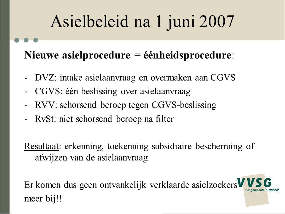 Nieuwe asielprocedure = éénheidsprocedure: -DVZ: intake asielaanvraag en overmaken aan CGVS -CGVS: één beslissing over asielaanvraag -RVV: schorsend b