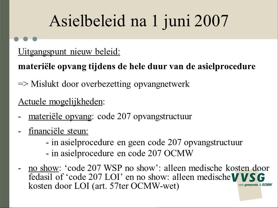 Asielbeleid na 1 juni 2007 Uitgangspunt nieuw beleid: materiële opvang tijdens de hele duur van de asielprocedure => Mislukt door overbezetting opvang