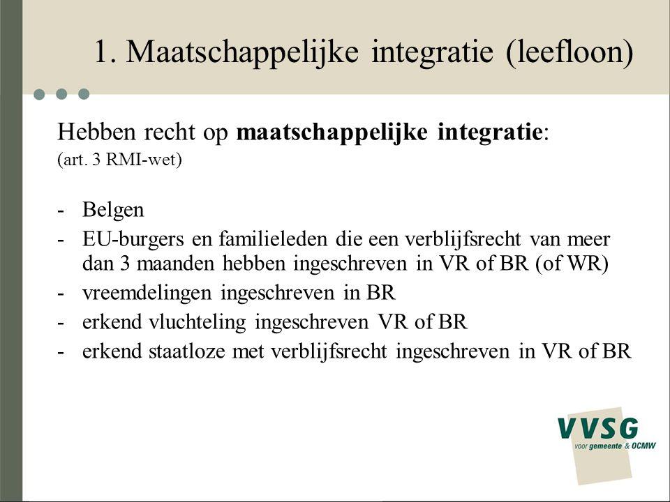 1. Maatschappelijke integratie (leefloon) Hebben recht op maatschappelijke integratie: (art. 3 RMI-wet) -Belgen -EU-burgers en familieleden die een ve