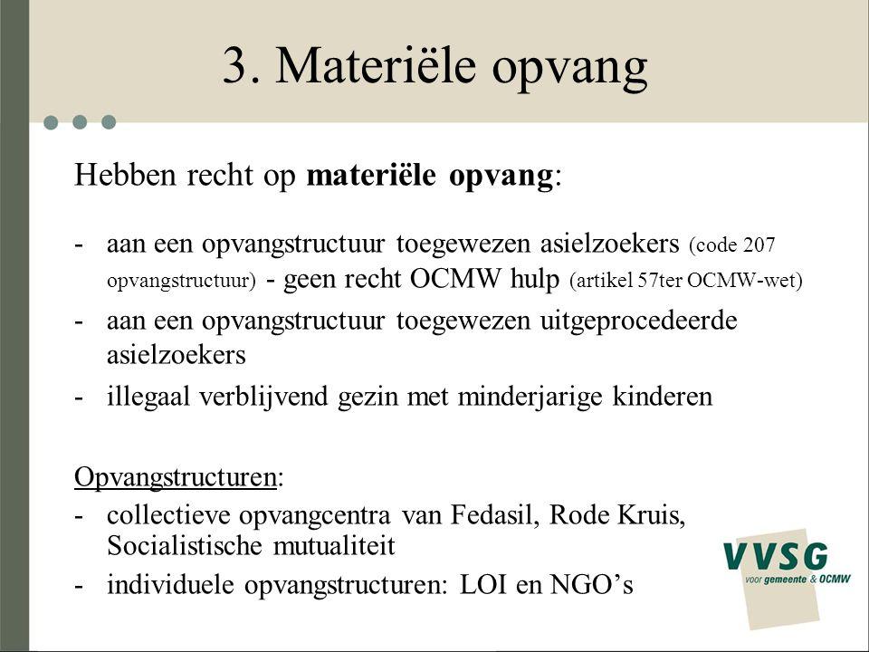 3. Materiële opvang Hebben recht op materiële opvang: -aan een opvangstructuur toegewezen asielzoekers (code 207 opvangstructuur) - geen recht OCMW hu