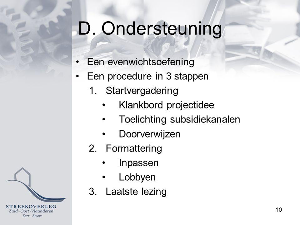 D. Ondersteuning Een evenwichtsoefening Een procedure in 3 stappen 1.Startvergadering Klankbord projectidee Toelichting subsidiekanalen Doorverwijzen