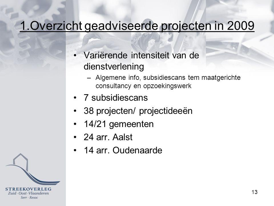 1.Overzicht geadviseerde projecten in 2009 Variërende intensiteit van de dienstverlening –Algemene info, subsidiescans tem maatgerichte consultancy en opzoekingswerk 7 subsidiescans 38 projecten/ projectideeën 14/21 gemeenten 24 arr.