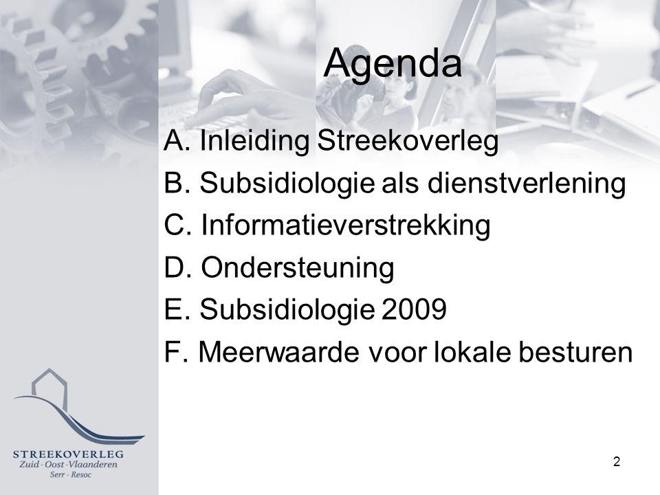 Agenda A. Inleiding Streekoverleg B. Subsidiologie als dienstverlening C.