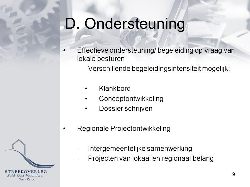 D. Ondersteuning Effectieve ondersteuning/ begeleiding op vraag van lokale besturen –Verschillende begeleidingsintensiteit mogelijk: Klankbord Concept