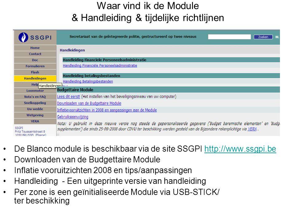 Waar vind ik de Module & Handleiding & tijdelijke richtlijnen De Blanco module is beschikbaar via de site SSGPI http://www.ssgpi.behttp://www.ssgpi.be
