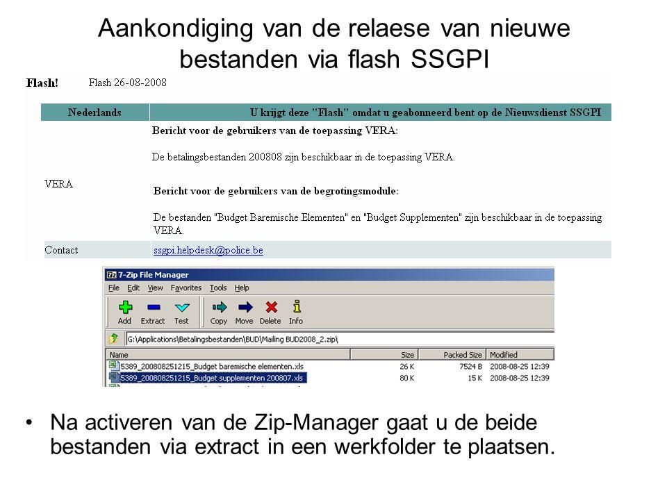 Aankondiging van de relaese van nieuwe bestanden via flash SSGPI Na activeren van de Zip-Manager gaat u de beide bestanden via extract in een werkfold