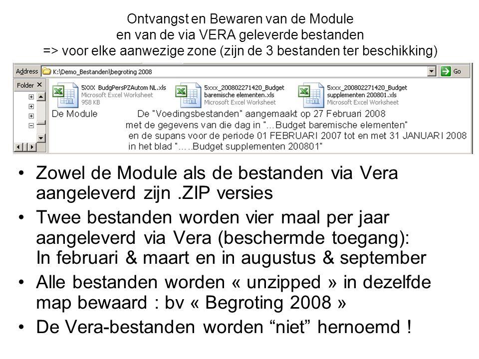 Ontvangst en Bewaren van de Module en van de via VERA geleverde bestanden => voor elke aanwezige zone (zijn de 3 bestanden ter beschikking) Zowel de M