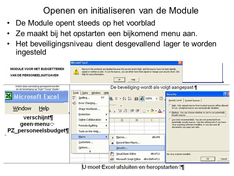 Openen en initialiseren van de Module De Module opent steeds op het voorblad Ze maakt bij het opstarten een bijkomend menu aan. Het beveiligingsniveau