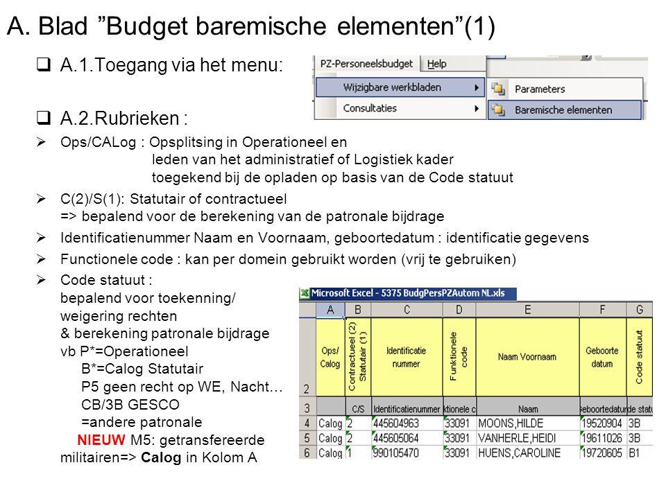 """A. Blad """"Budget baremische elementen""""(1)  A.1.Toegang via het menu:  A.2.Rubrieken :  Ops/CALog : Opsplitsing in Operationeel en leden van het admi"""