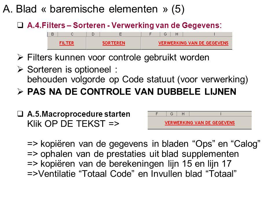 A. Blad « baremische elementen » (5)  A.4.Filters – Sorteren - Verwerking van de Gegevens :  Filters kunnen voor controle gebruikt worden  Sorteren
