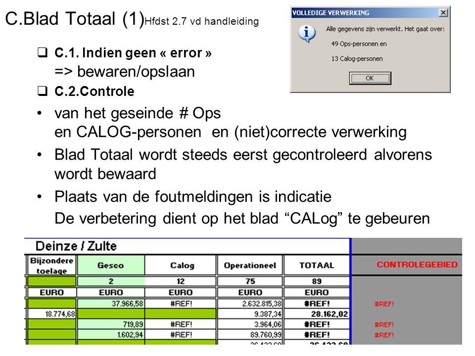 C.Blad Totaal (1) Hfdst 2.7 vd handleiding  C.1. Indien geen « error » => bewaren/opslaan  C.2.Controle van het geseinde # Ops en CALOG-personen en