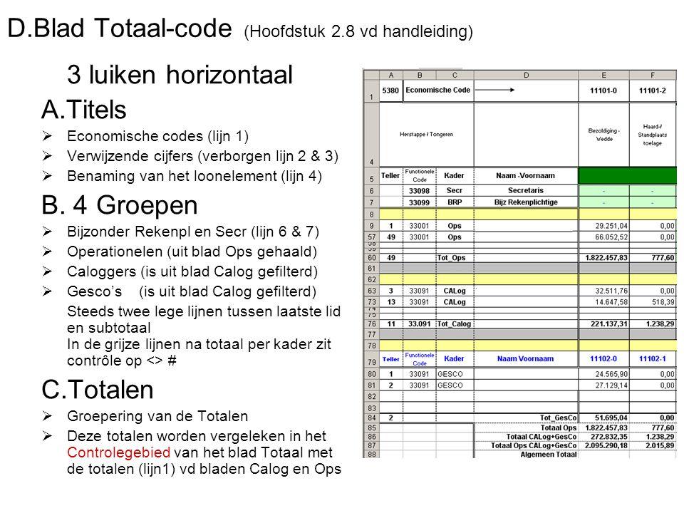 D.Blad Totaal-code (Hoofdstuk 2.8 vd handleiding) 3 luiken horizontaal A.Titels  Economische codes (lijn 1)  Verwijzende cijfers (verborgen lijn 2 &
